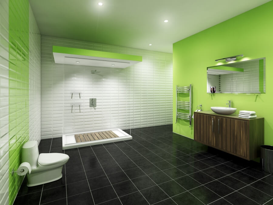 Sleek Green Bathroom