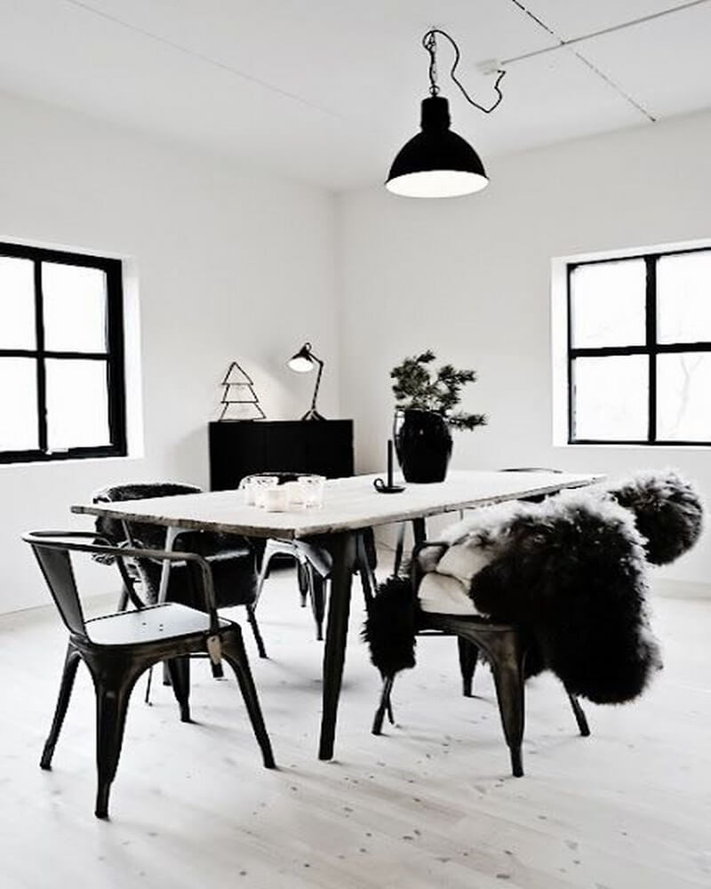 Very Black and White Dining Room
