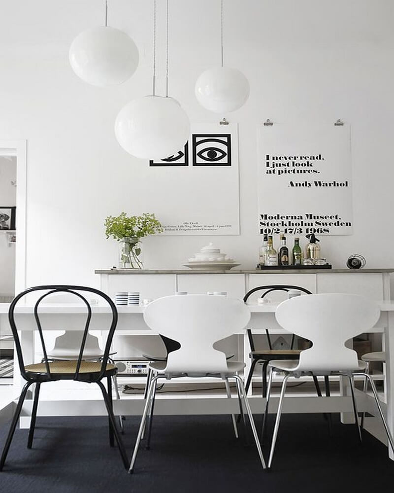 Monochrome Scandinavian Dining Room