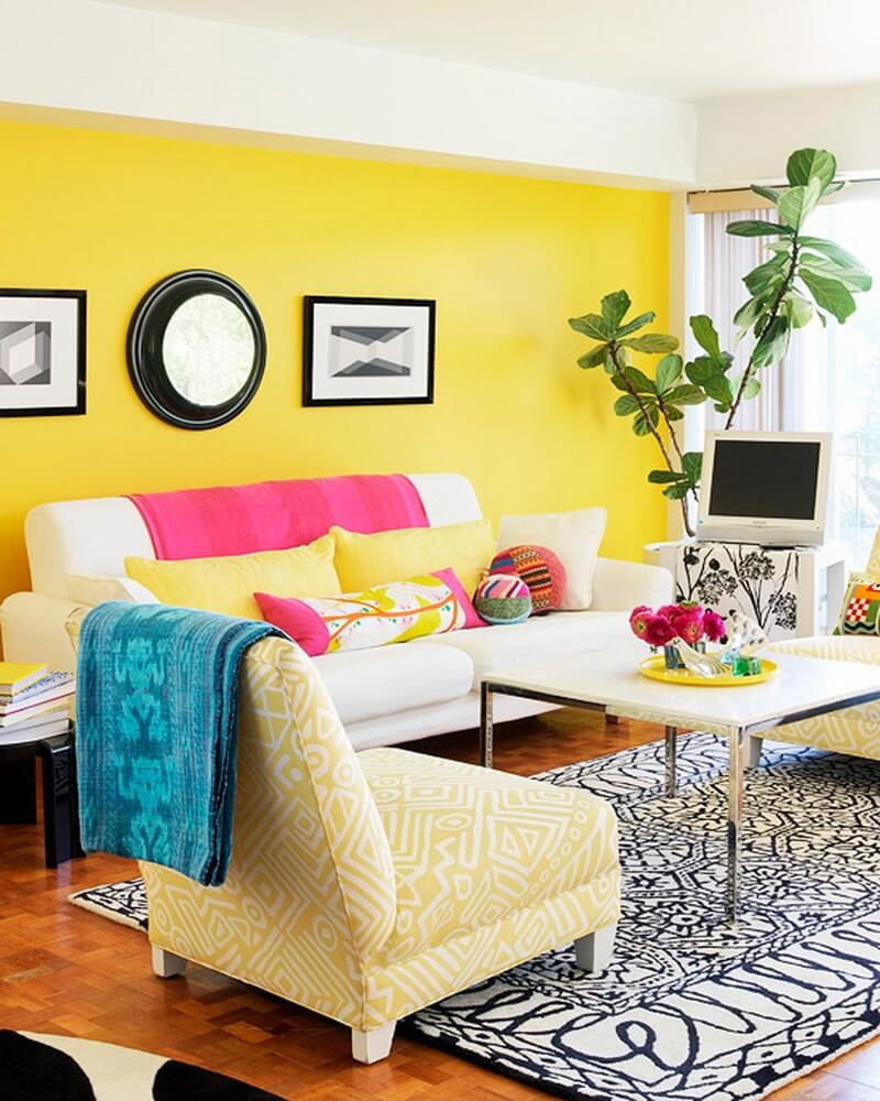 Yellow Living Room: 10 Interesting Colorful Living Room Interior Design Ideas