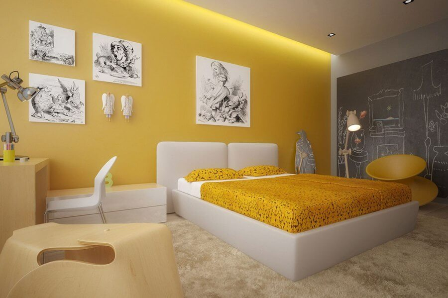 Artistic Modern Yellow Bedroom
