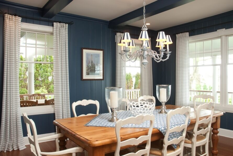 Deep blue rustic dining room