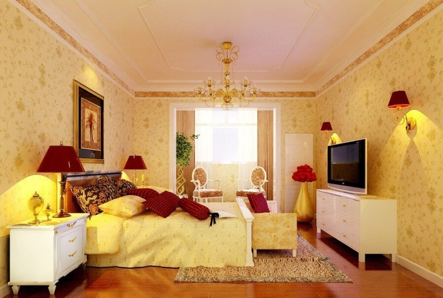 Cozy, Traditional Yellow Bedroom