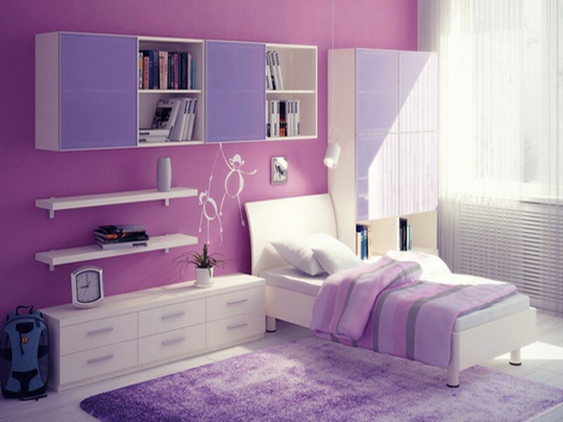 lovely teen lounge room ideas | 10 Lovely Violet Girl's Bedroom Interior Design Ideas ...