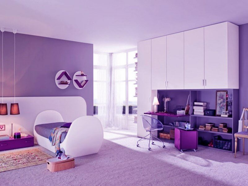10 lovely violet girl 39 s bedroom interior design ideas for Room colours for small rooms