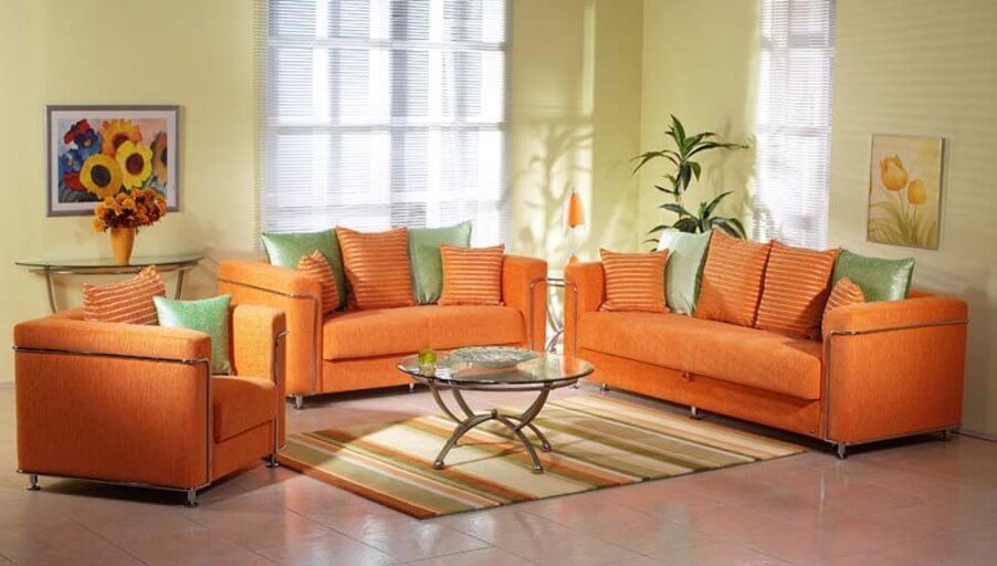 Vibrant Orange Living Room Interior Design Ideas
