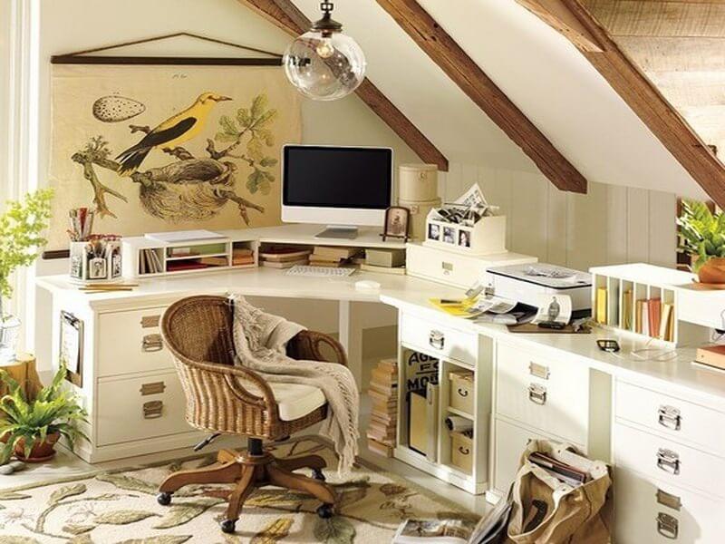 Natural attic home office