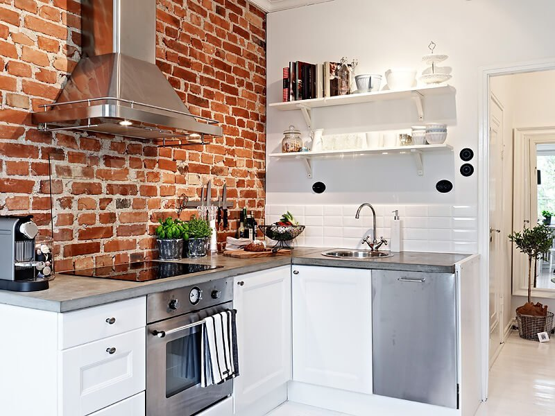 10 Cool Kitchen Interior Design Ideas with Brick Walls - https:\/\/interioridea.net\/