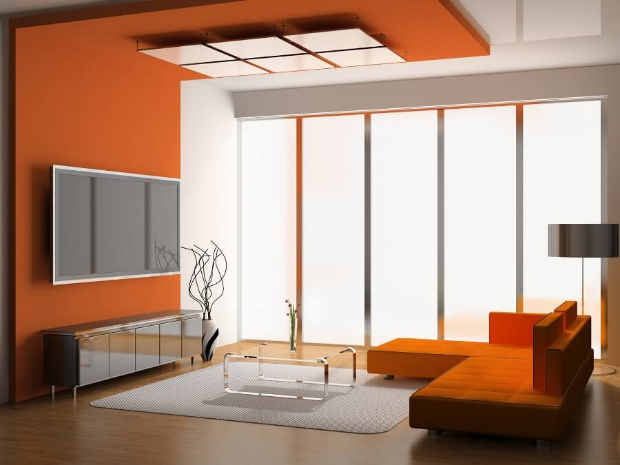 Ultra Modern Orange Living Room
