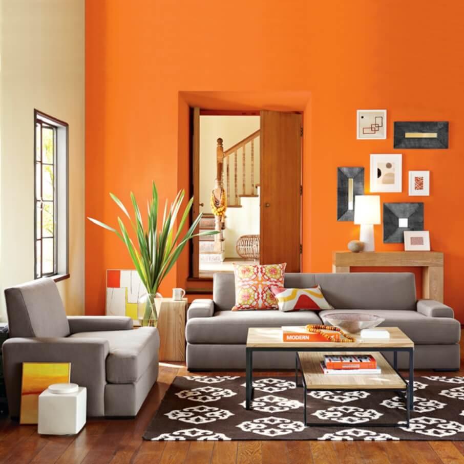 vibrant orange living room interior design ideas