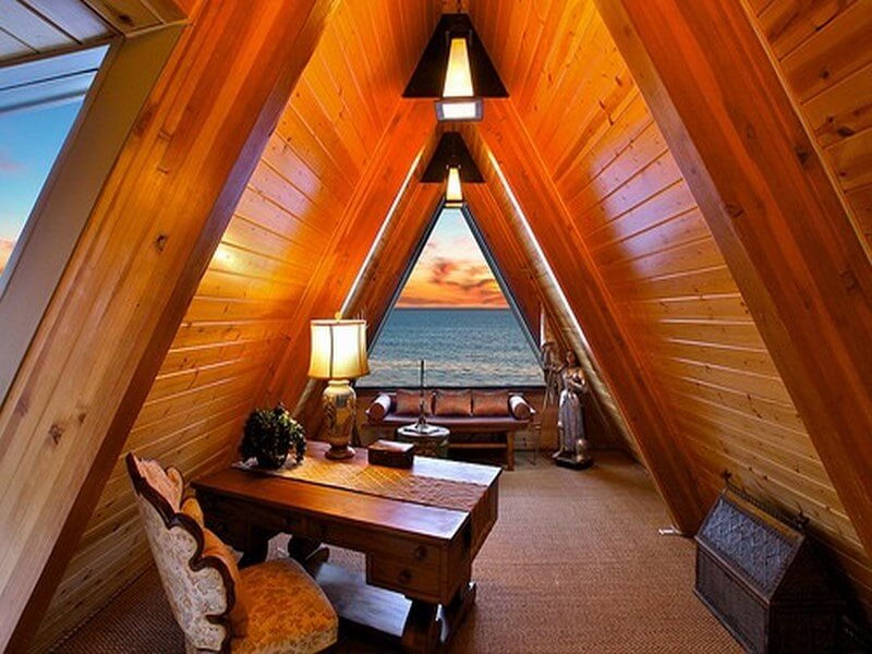 Attic home office with a beautiful view of the ocean