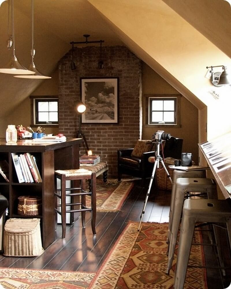 Cozy and Inviting Attic Office