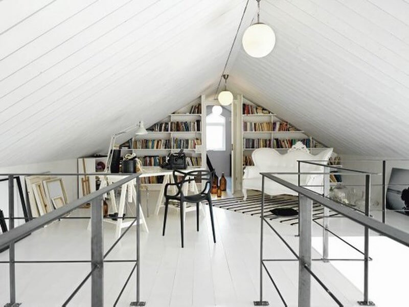 Modern home office in an attic