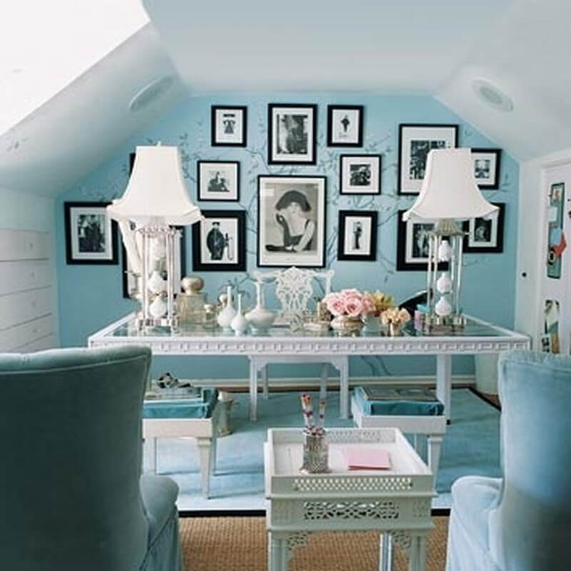 pastel attic home office