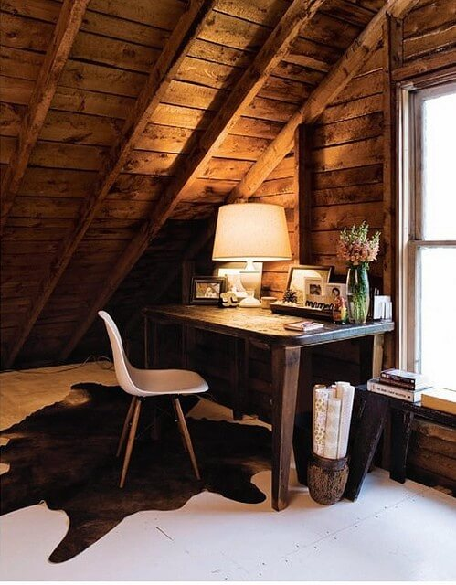 Rustic wooden attic office