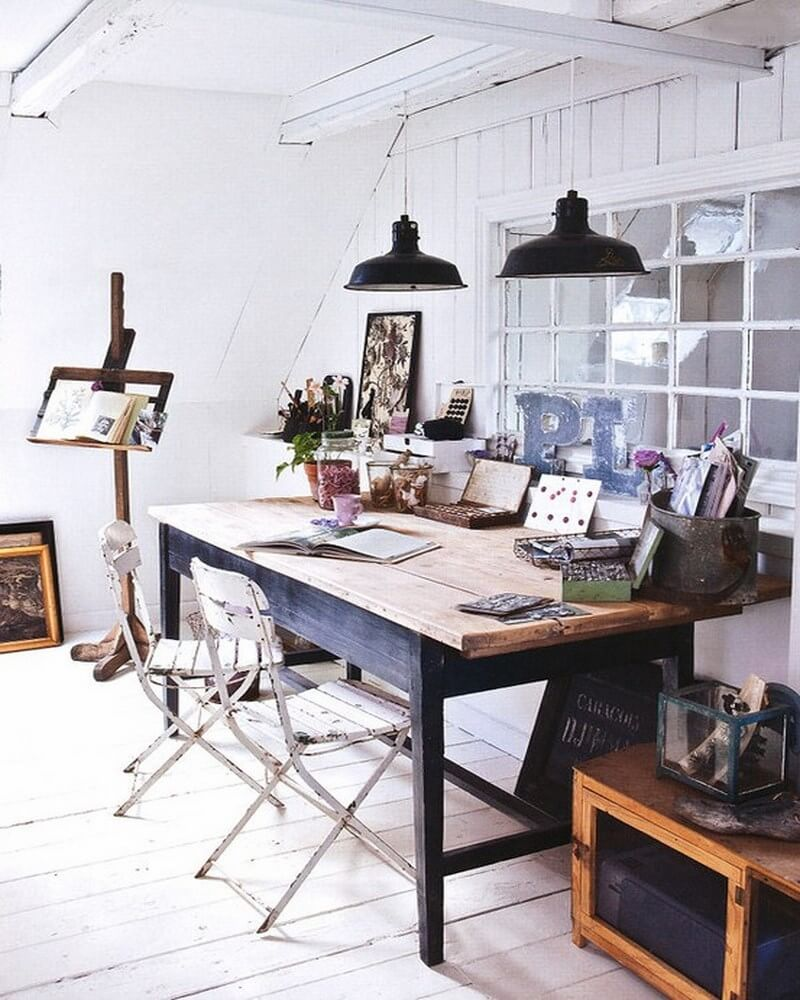 scandinavian attic home office