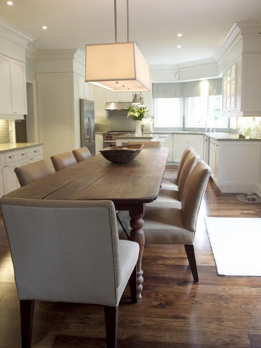 10 gorgeous dining room interior design ideas with leather for Rectangular dining room light