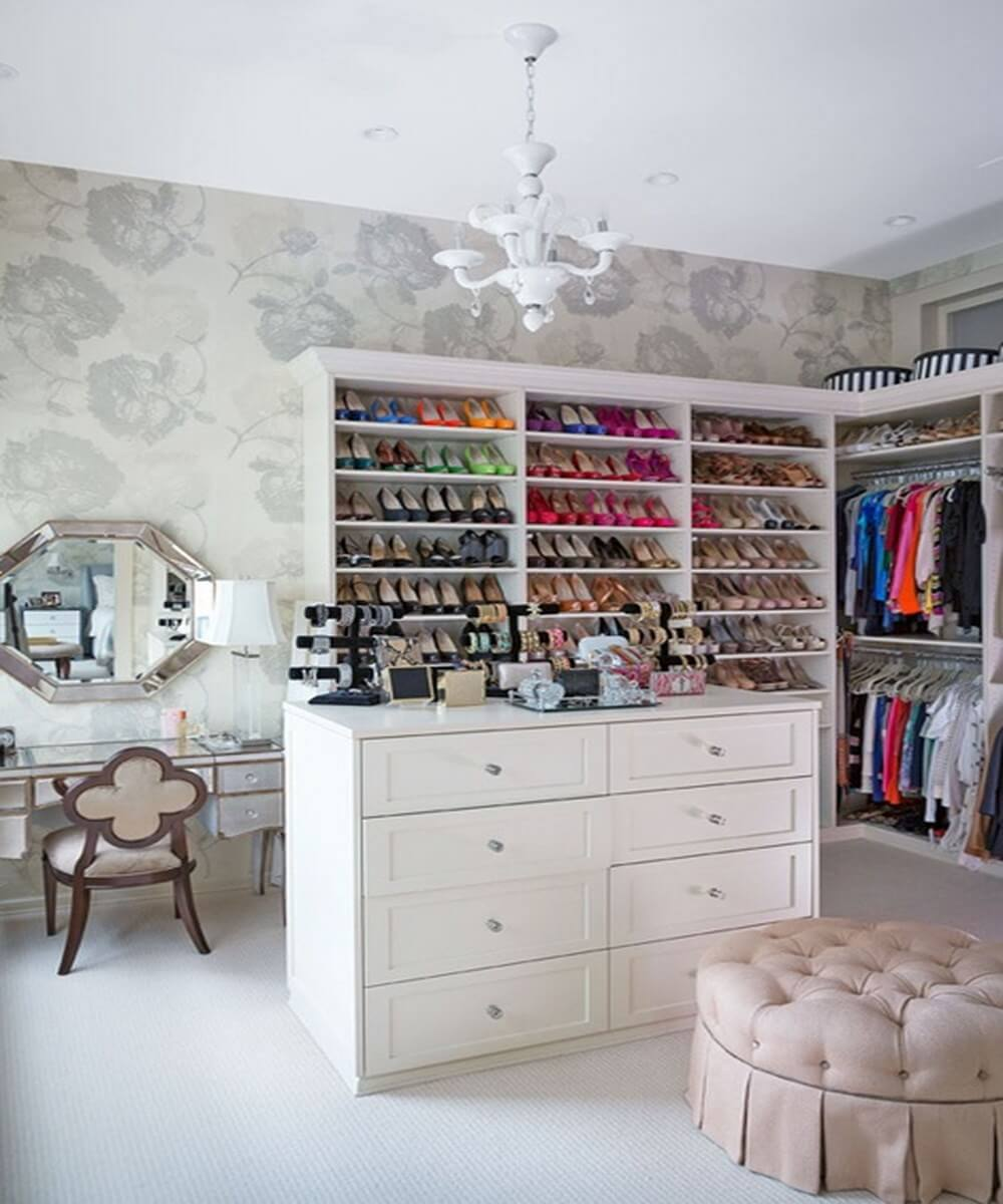 Colorful shoes in walk in closet