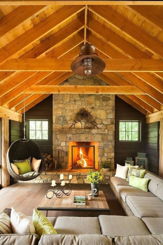 Bright Living Room with Exposed Beams