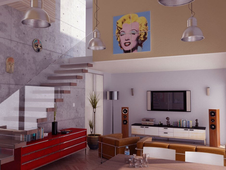 Modern Pop Art Style Apartment: Add Some Vibrant Color And Funkiness To Your Living Room