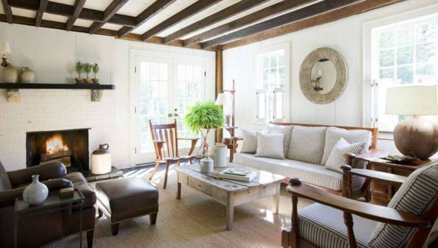 Nice living room with exposed wood beams
