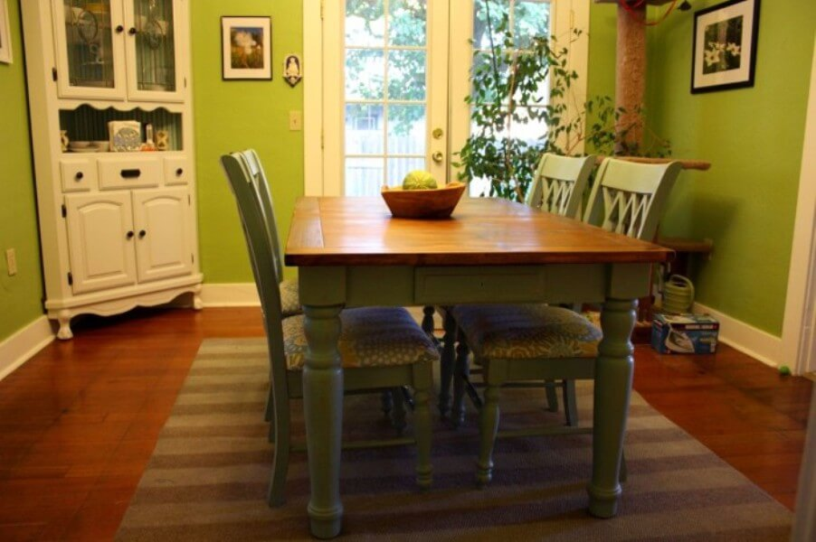 Rustic Look Green Dining Room