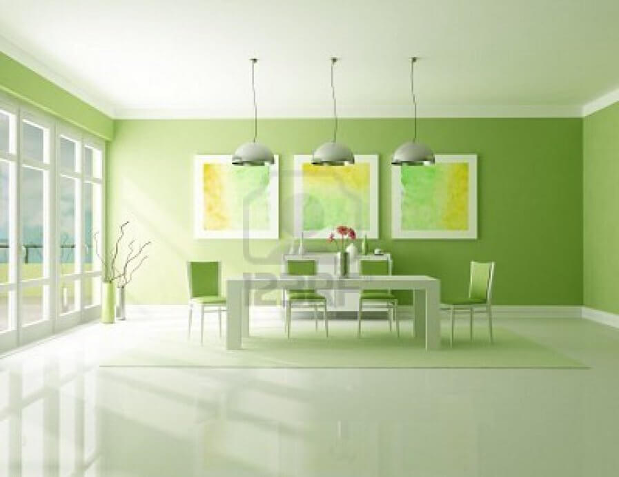Sleek Green Dining Room