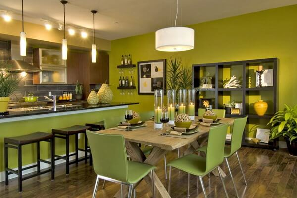 Trendy, Bold Green Dining Room