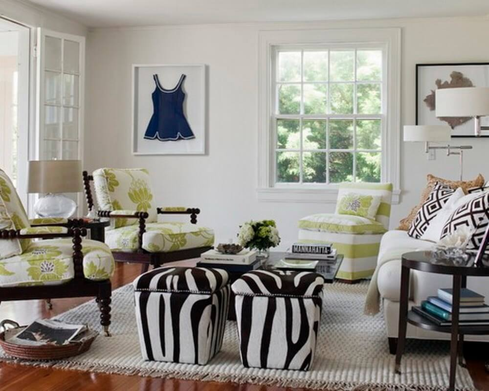 Living Room with Zebra Print Foot Stools