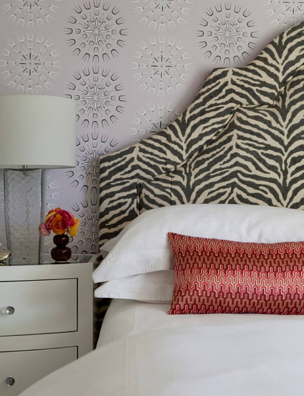 Zebra print bed headboard