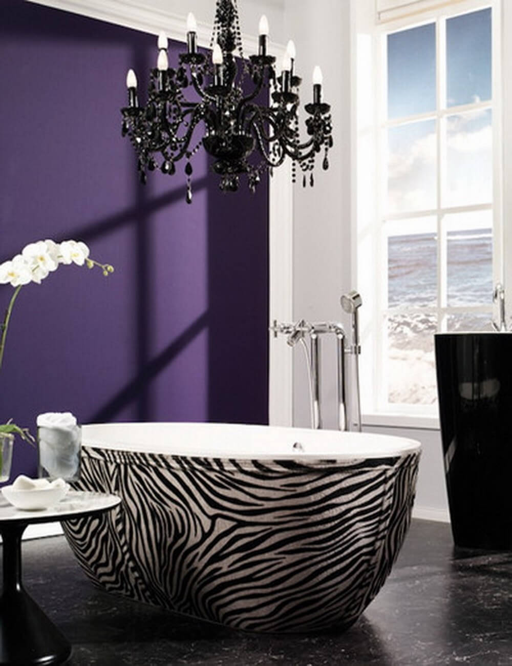 Bathroom with Zebra print accents