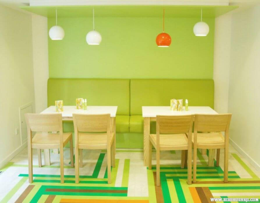 Amazing pop art style green dining room