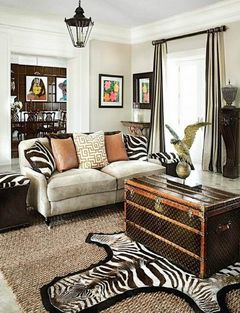 Zebra print living room