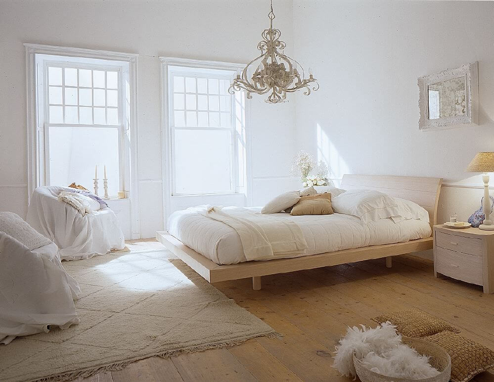 Serene natural bright bedroom