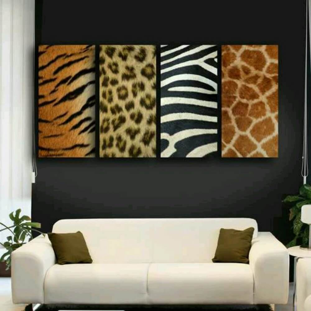 Animal print wall art with tiger, leopard, zebra and giraffe patterns