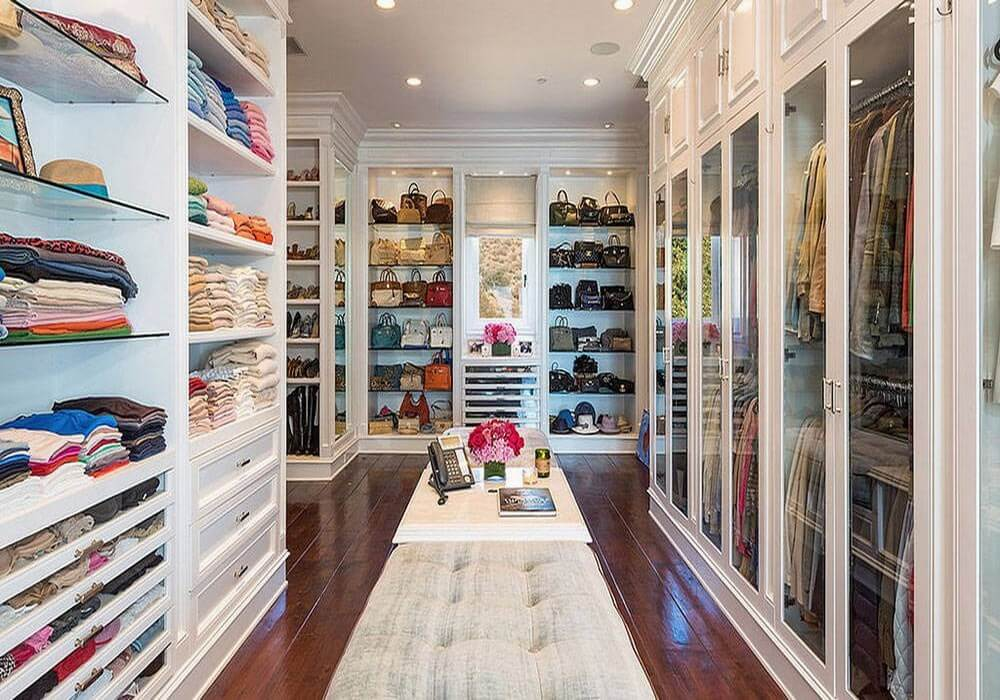 Very organized walk-in closet