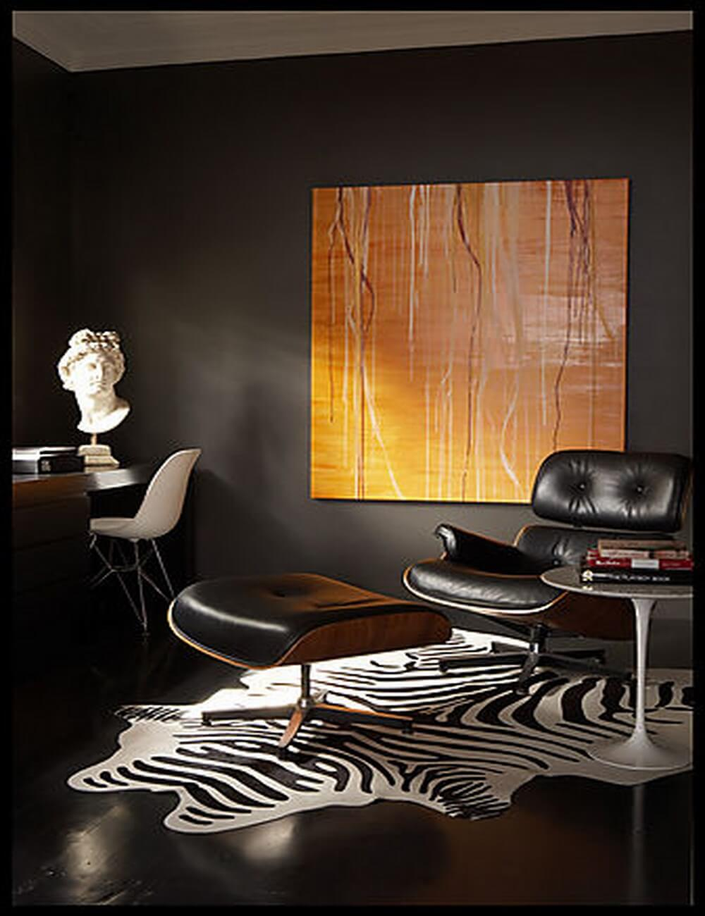 Faux zebra print rug in home office
