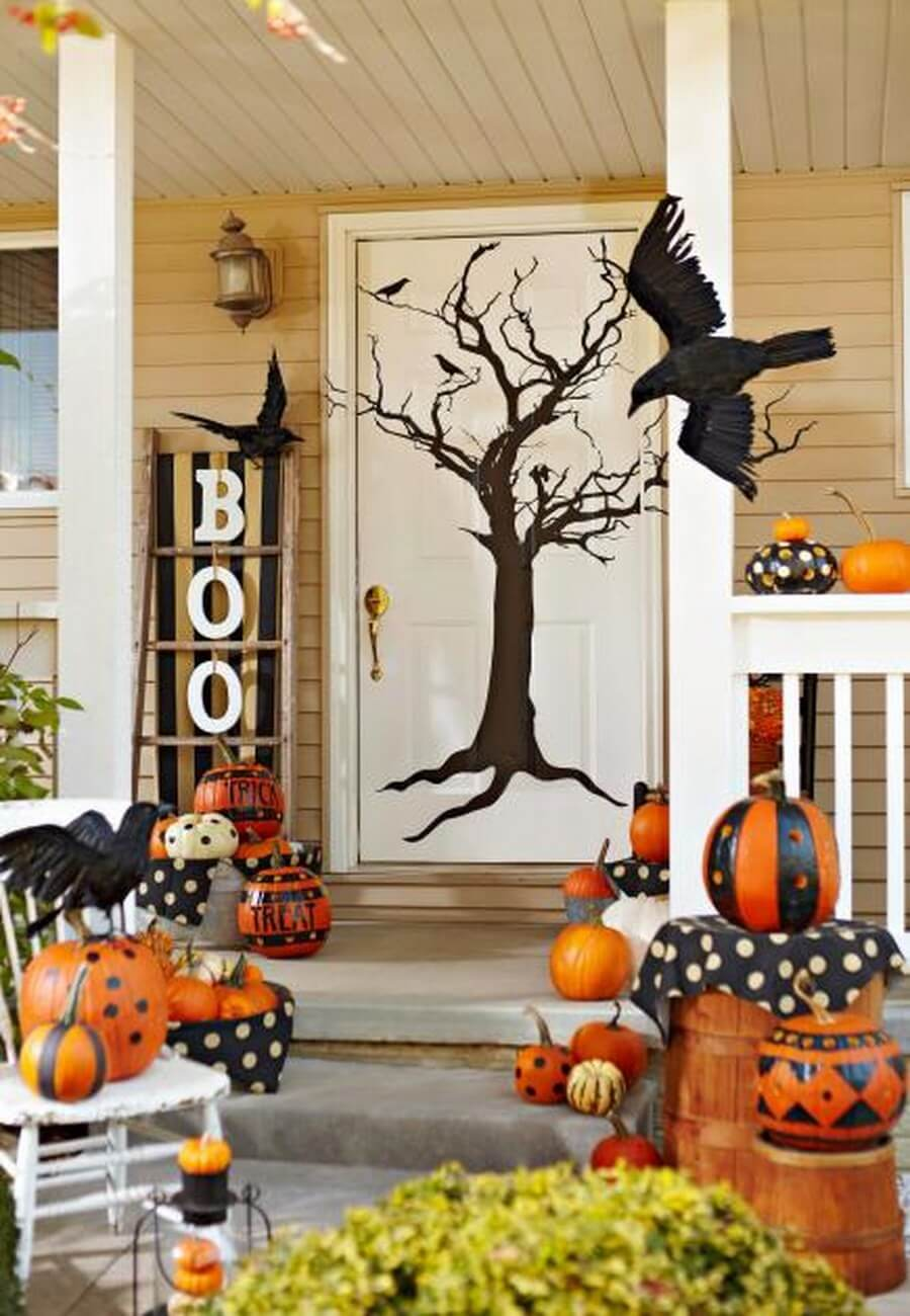 Fun and lively Halloween front door decor