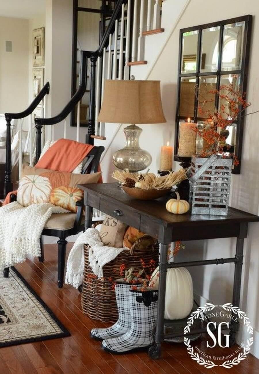 Fall decor near staircase