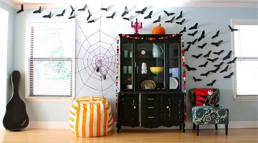Batt Wall Halloween Living Room