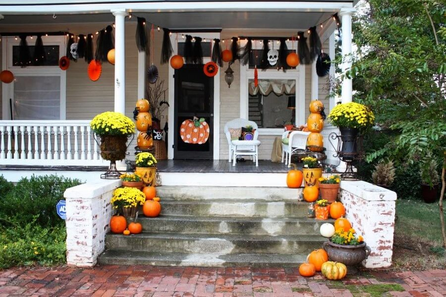 Vibrant front door Halloween decorations