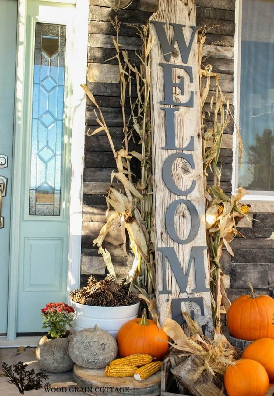 Welcoming front door Halloween decor