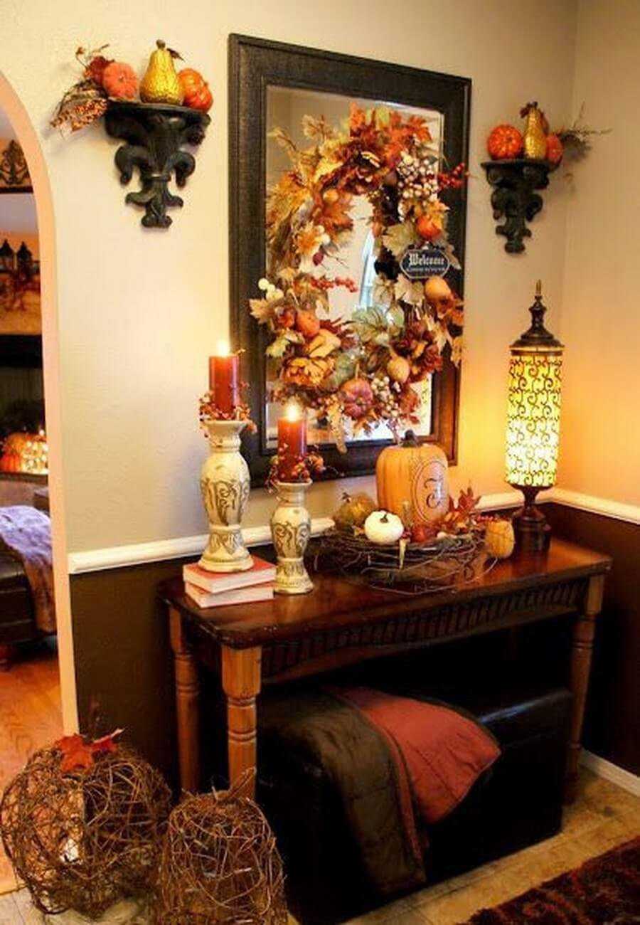 Thanksgiving Foyer Decor : Cozy and charming autumn decor ideas for your hallway
