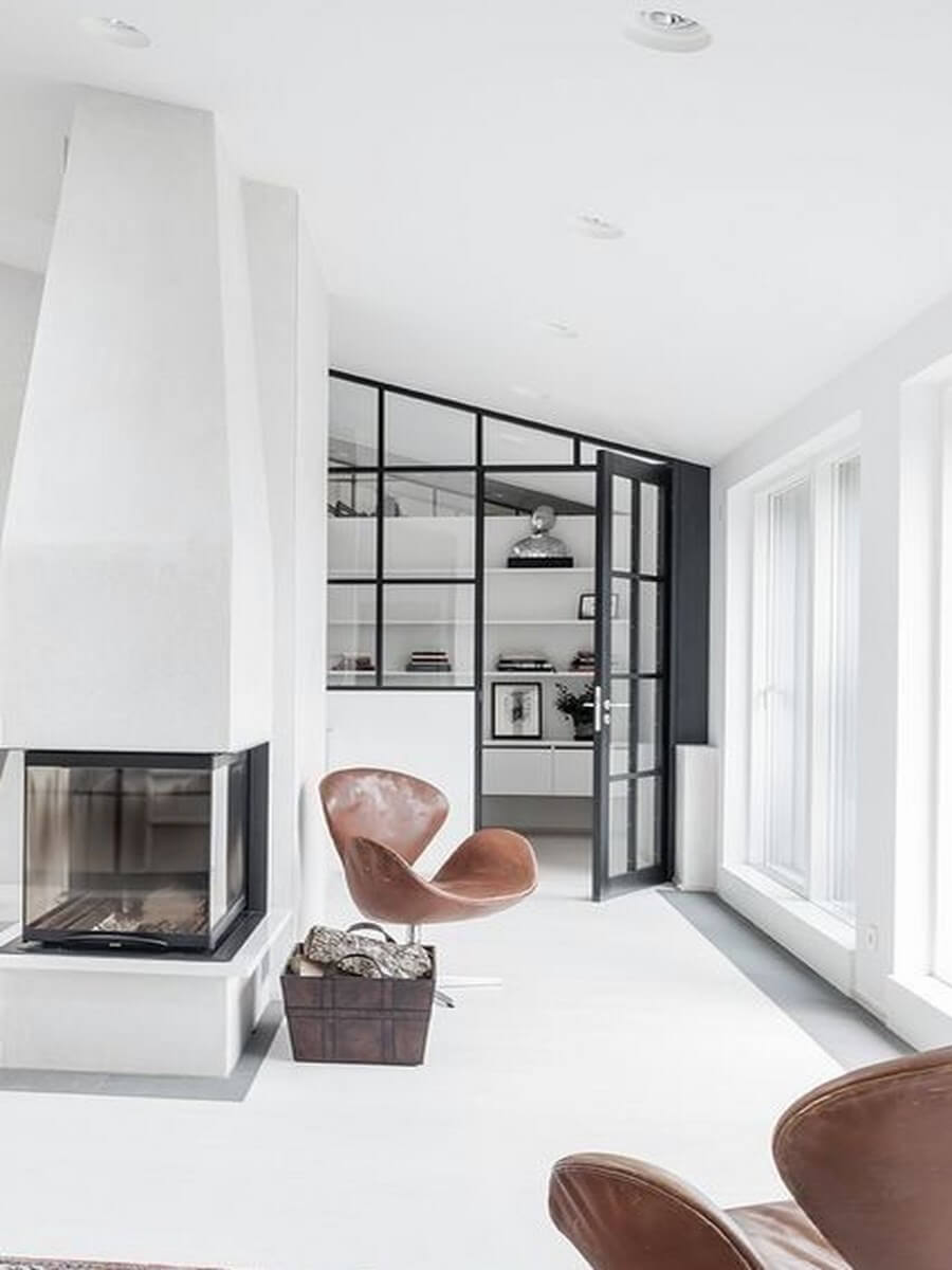 Black and white living room with beautiful fireplace