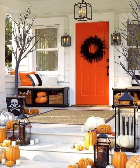 Pirates and pumpkins orange front door decor