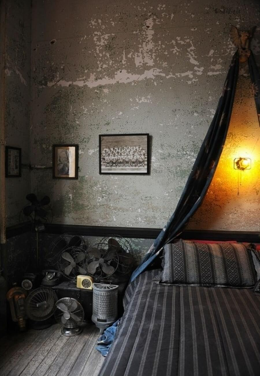 Dark industrial bedroom design
