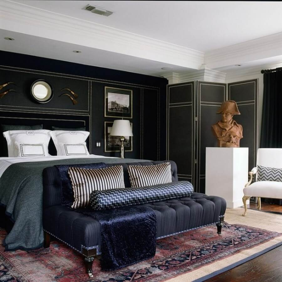 Elegant And Dramatic Masculine Bedroom Designs