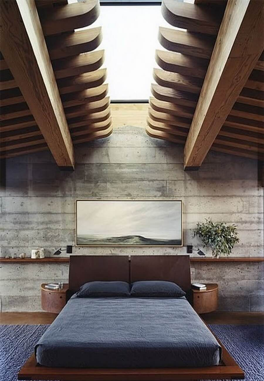 Stylish and sexy masculine bedroom with incredible ceiling