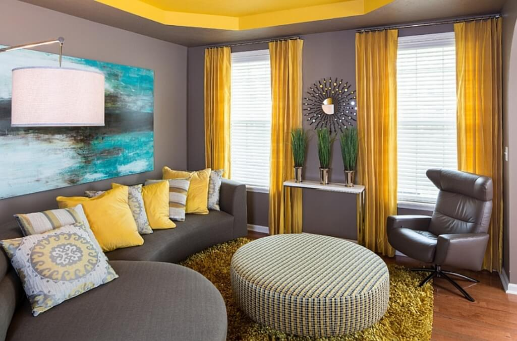glamorous yellow gray living room | Best 15 Gray and Yellow Living Room Design Ideas - https ...