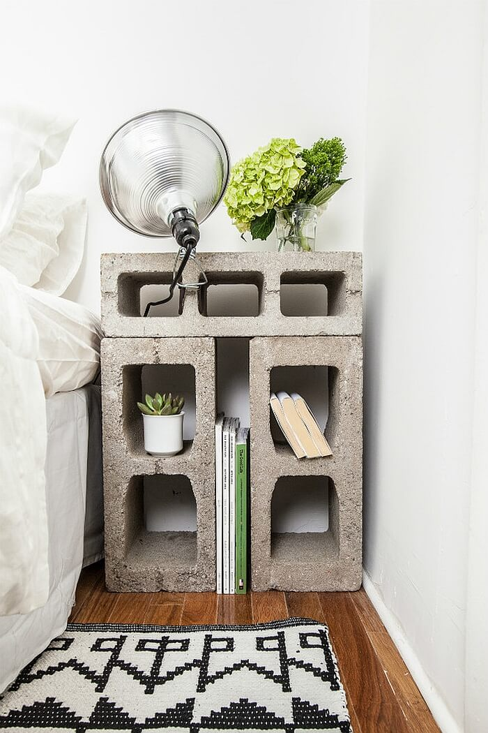 Nightstand made out of cement blocks